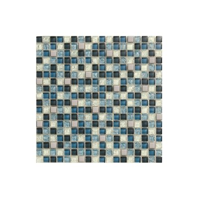 12 x 12 Glass Mosaic Tile in High-Gloss Blue