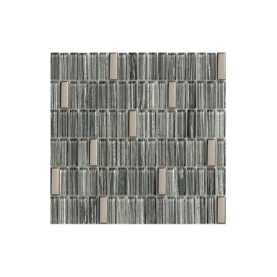 12 x 12 Glass Mosaic Tile in Glossy Slate blue, silver and black