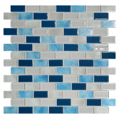 Tides 0.75 x 1.63 Glass Mosaic Tile in Big Sky