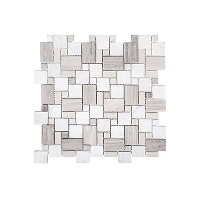 Coastal Forest 11.88 x 11.88 Garden Mosaic Tile in White/Beige