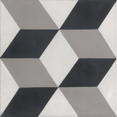 Mediterranea Dimensions 8 x 8 Quarry Hand-Painted Tile in Black/Gray