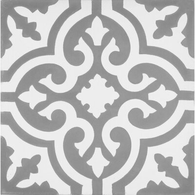 Mediterranea Floor II 8 x 8 Cement Hand-Painted Tile in Gray/White