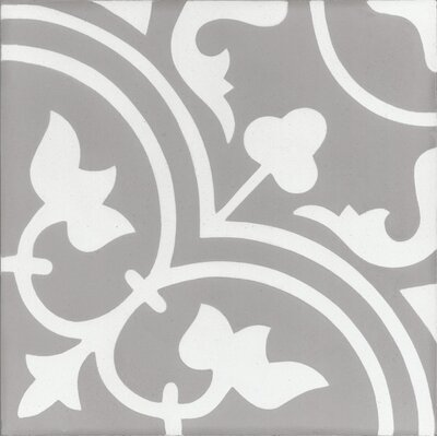 Mediterranea Leo 8 x 8 Quarry Hand-Painted Tile in Gray/Beige