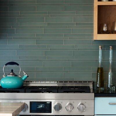 Linear Glass Random Sized Mosaic Tile in Bermuda Blue