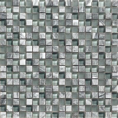 12 x 12 Glass Stone Mosaic Tile in Grey