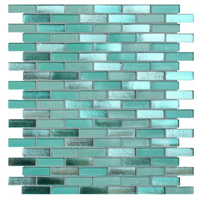 Opal 0.63 x 1.88 Glass Mosaic Tile in Biscayne Bay