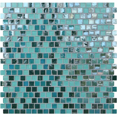 Opal 0.63 x 0.63 Glass Mosaic Tile in Blue Lagoon
