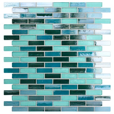 Opal 0.63 x 1.88 Glass Mosaic Tile in Blue Lagoon