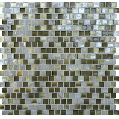 Opal 0.63 x 0.63 Glass Mosaic Tile in Golden Olive