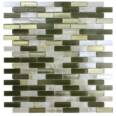 Opal 0.63 x 1.88 Glass Mosaic Tile in Golden Olive