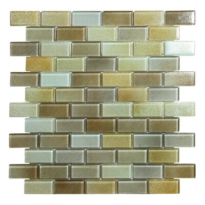 Hi-Fi Offset Brick 1 x 2 Glass Mosaic Tile in Sandy Beige/Brown/Pale Gray