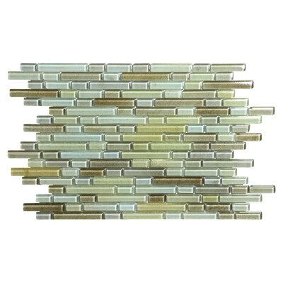 Hi-Fi Offset Linear Random Sized Glass Mosaic Tile in Green/Beige/Brown