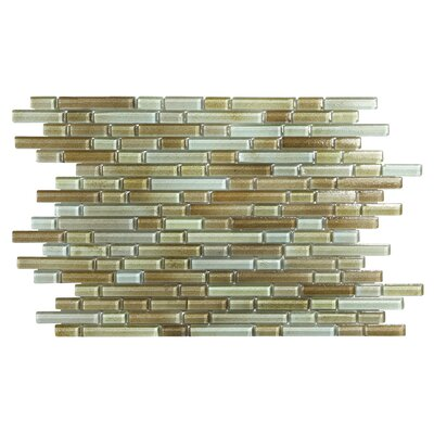 Hi-Fi Offset Linear Random Sized Glass Mosaic Tile in Brown/Beige/Green