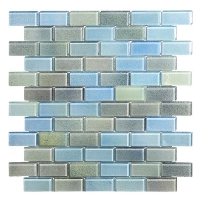 Hi-Fi Offset Brick 1 x 2 Glass Mosaic Tile in Powdered Blue/Sea Green/Beige