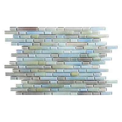 Hi-Fi Offset Linear Random Sized Glass Mosaic Tile in Green/Beige