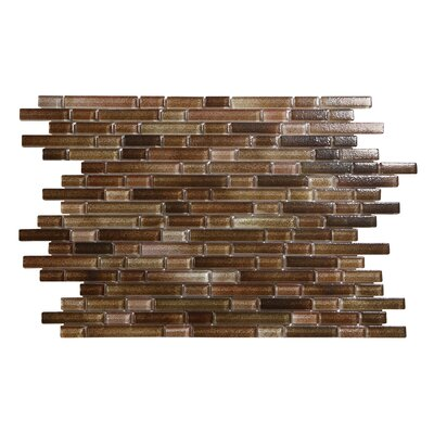 Hi-Fi Offset Linear Random Sized Glass Mosaic Tile in Brown