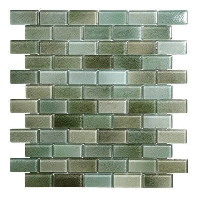 Hi-Fi Offset Brick 1 x 2 Glass Mosaic Tile in Green/Brown/Beige