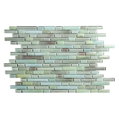 Hi-Fi Offset Linear Random Sized Glass Mosaic Tile in Blue/Green/Gray