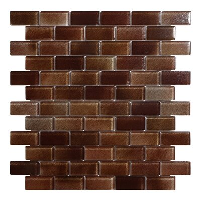 Hi-Fi Offset Brick 1 x 2 Glass Mosaic Tile in Brown