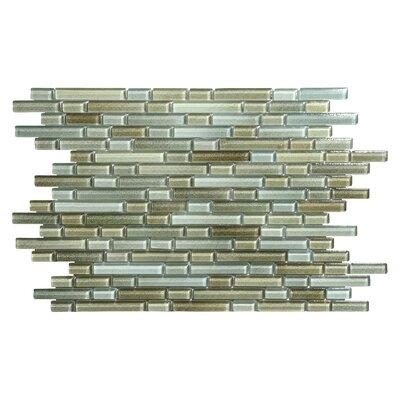 Hi-Fi Offset Linear Random Sized Glass Mosaic Tile in Brown/Green/Beige