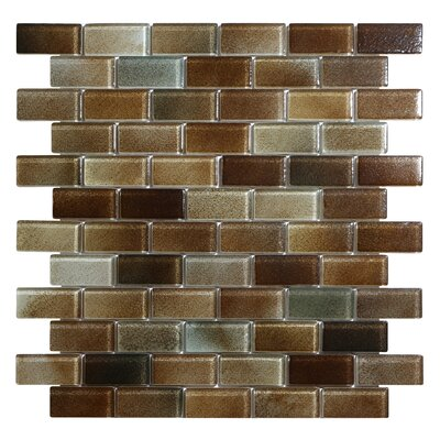 Hi-Fi Offset Brick 1 x 2 Glass Mosaic Tile in Dark Brown/Warm Beige