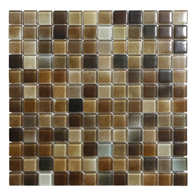 Hi-Fi 1 x 1 Glass Mosaic Tile in Textured Brown