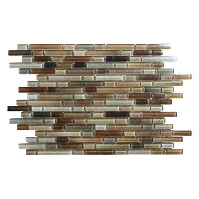 Hi-Fi Offset Linear Random Sized Glass Mosaic Tile in Brown/Beige