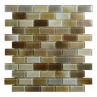 Hi-Fi Offset Brick 1 x 2 Glass Mosaic Tile in Warm Brown/Beige/Off White