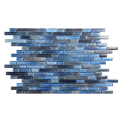 Hi-Fi Offset Linear Random Sized Glass Mosaic Tile in Blue