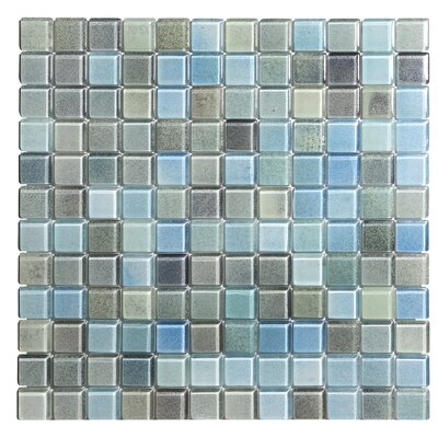 Hi-Fi 1 x 1 Glass Mosaic Tile in Powdered Blue/Sea Green/Beige