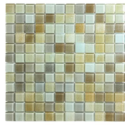 Hi-Fi 1 x 1 Glass Mosaic Tile in Sandy Beige/Brown/Pale Gray
