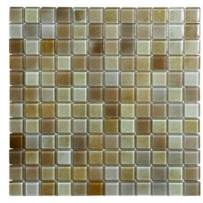 Hi-Fi 1 x 1 Glass Mosaic Tile in Brown/Beige