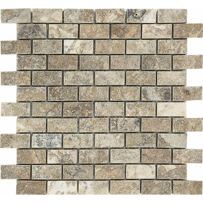 1 x 0.38 Stone Mosaic Tile in Antico Honed