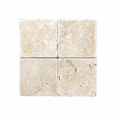 Rustic Tumbled 6 x 6 Travertine Field Tile in Ivory