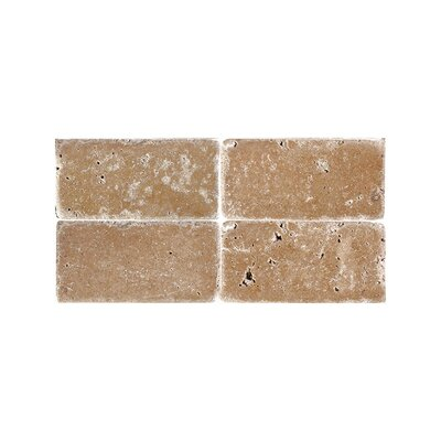 Tumbled 3 x 6 Natural Stone Subway Tile in Expresso
