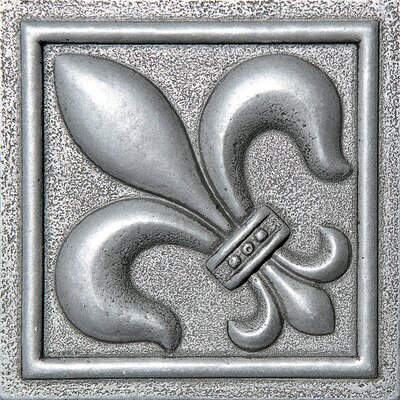 4 x 4 Fleur De Lis Deco Accent Tile in Pewter