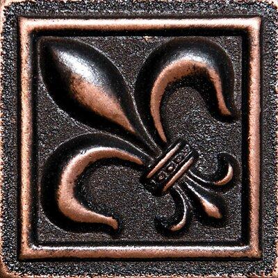2 x 2 Fleur De Lis Deco Accent Tile in Oil Bronze