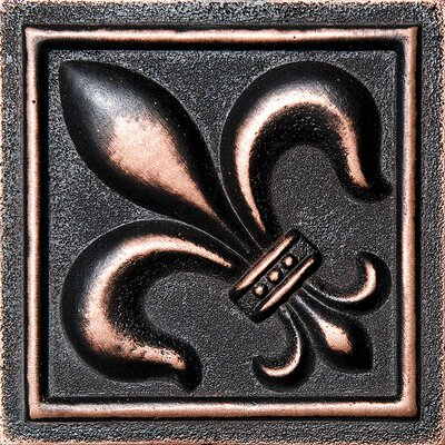 4 x 4 Fleur De Lis Deco Accent Tile in Oil Bronze