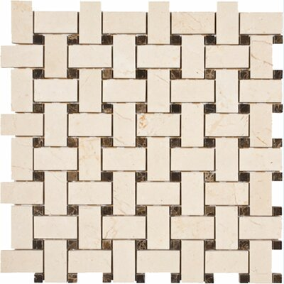 Crema Marfil with Dark Emperador Basketweave Stone Mosaic Tile