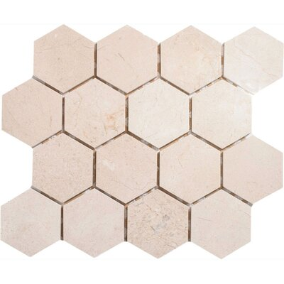Crema Marfil Hexagon 3 x 3 Stone Mosaic Tile Polished