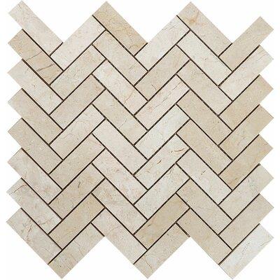 Crema Marfil Grande Herringbone 1 x 3 Stone Mosaic Tile
