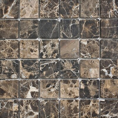 Emperador Tumbled 2 x 2 Stone Mosaic Tile in Dark