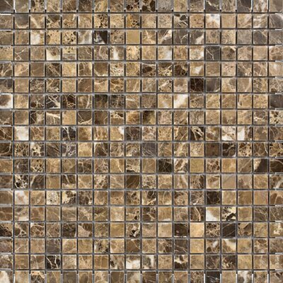 Emperador 0.625 x 0.625 Stone Mosaic Tile in Dark Polished