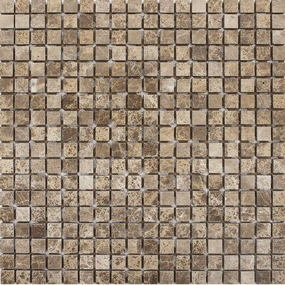Emperador Tumbled 0.625 x 0.625 Stone Mosaic Tile in Light