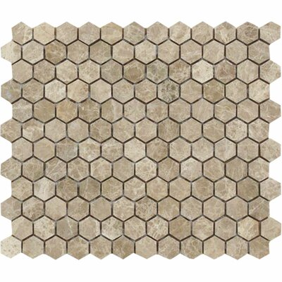 Emperador Hexagon 1 x 1 Stone Mosaic Tile in Light Polished