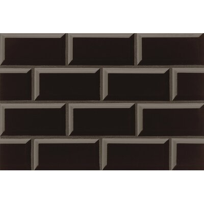 Nantucket 3 x 6 Beveled Edge Ceramic Subway Tile in Gloss Stormy Night