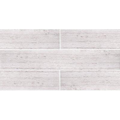 Wood Grain 4 x 24 Stone Tile in Gray Honed