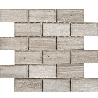 Wood Grain Beveled Brick 2 x 4 Stone Mosaic Tile in Gray Polished