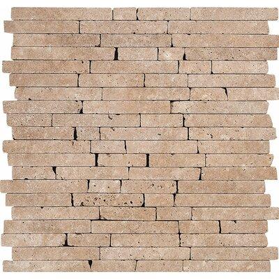 Random Strips Tumbled Random Sized Stone Mosaic Tile in Noce