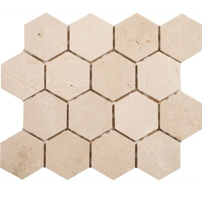 Crema Marfil Hexagon 3 x 3 Stone Mosaic Tile Honed